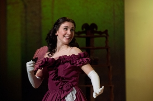 Senior Julia Massie prepares for the ball. Little Women featured elaborate costumes to bring to life America in the 1800s. (Photo courtesy of John Murray)