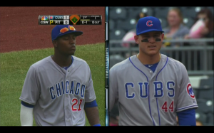 Even the professionals sometimes get it wrong. Chicago Cubs' outfielder, Junior Lake, (left) wore the wrong road jersey on April 3, 2014. (Photo courtesy of NBC Sports Network)
