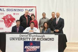 Daniel Brumbaugh signs a National Letter of Intent to play baseball at the University of Richmond. (Photo courtesy of John Murray)