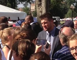 Tim Tebow meets with fans and signs autographs on Friday afternoon. Tebow joined the ESPN team last year at the National Championship game.